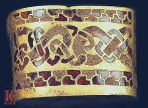 A hilt fitting from the Staffordshire hoard, which was declared to be treasure in September 2009
