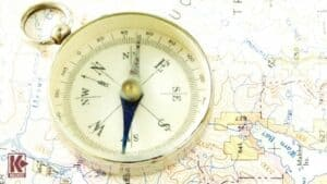 Antique Compass, Prospecting Map and Gold