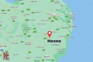 Hoxne is located in the county of Suffolk, Eastern England.