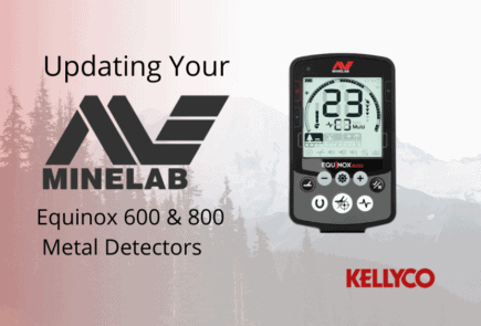 "Black text on background says ""updating your minelab equinox 600 and 800 metal detectors"""