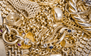 close-up of a collection of high quality gold jewelry