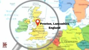 Map of Preston, Lancashire UK - Where the Cuerdale Hoard was found.