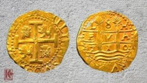 Rare 8 Escudos Lima dated 1710 recovered from the 1715 Fleet
