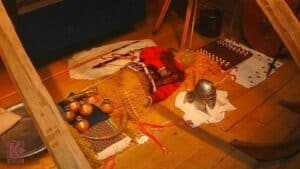 Reconstruction of the burial chamber - Sutton Hoo