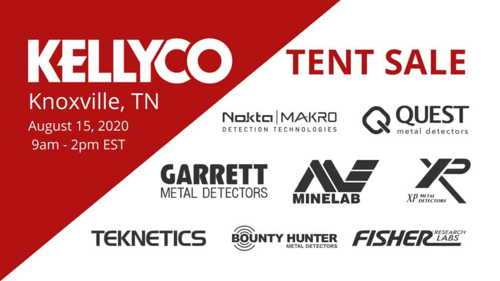 Kellyco Tent Sale promotional graphic on red and white background