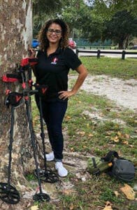 Kellyco Customer Experience Team member Leilani with Minelab metal detectors