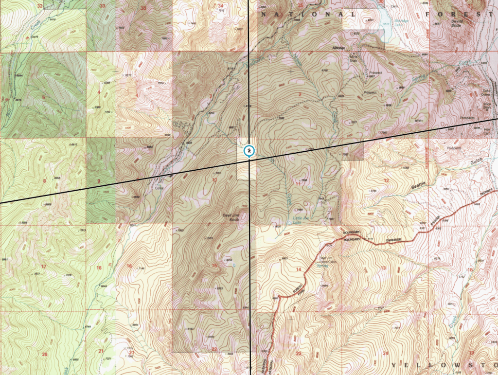 Topographical map showing where Fenn's Treasure may have been located