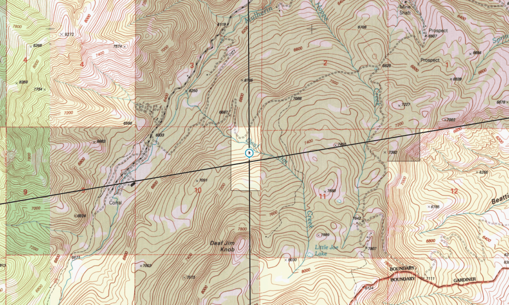 Deaf Jim Creek on topographical map in search of Fenn's Treasure