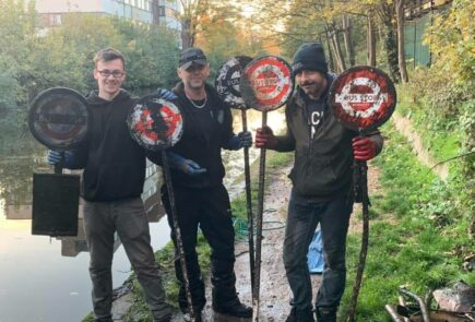 Three men go magnet fishing in the UK